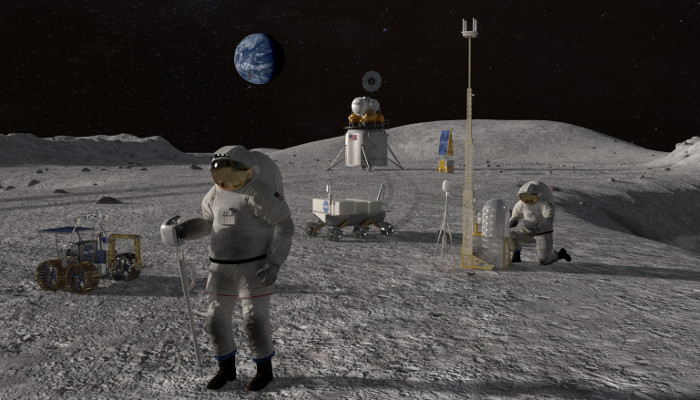 Astronauts on the lunar surface