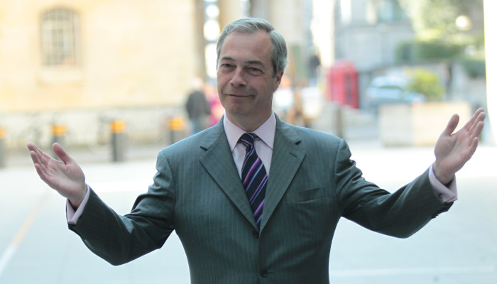 Nigel Farage looking smug