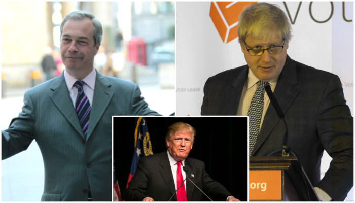 Nigel Farage Donald Trump Boris Johnson love triangle