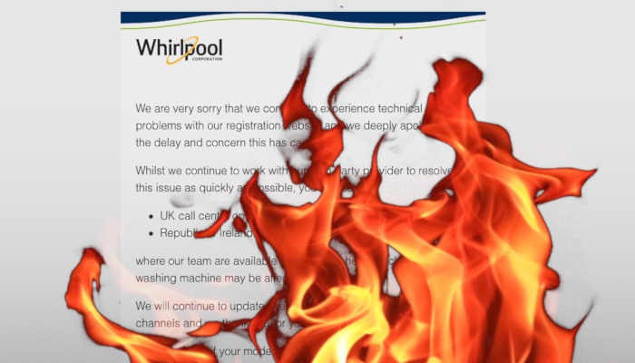 Whirlpool Website Fire