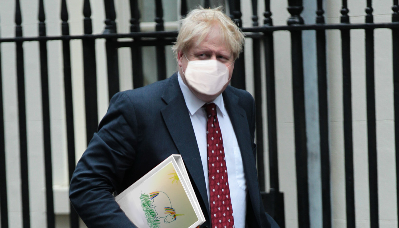 Boris Johnson Unicorn Folder and Coronavirus Mask